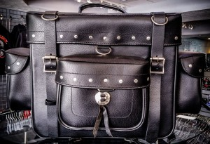 motorcycle leather travel bag with studs
