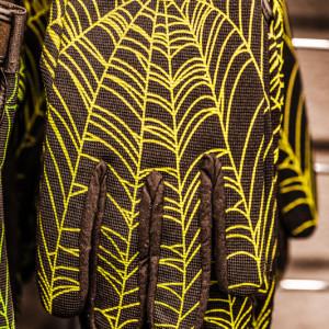 Spider web on textile glove
