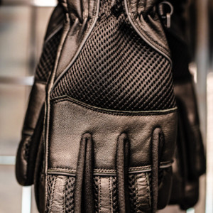 Short textile and leather motorcycle gloves